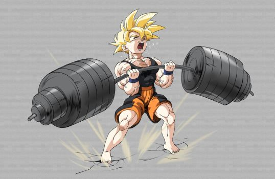 Stream Commission - gohan ssj weights by PhantomStudio-Tommy