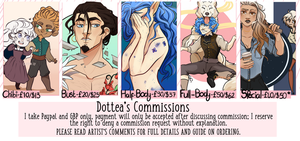 COMMISSIONS OLD SHEET by Dottea