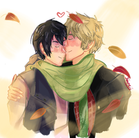 Makoharu kisses in Autumn by Joaneko