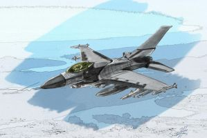 F-16 Coloured Drawing by Bilgekhan