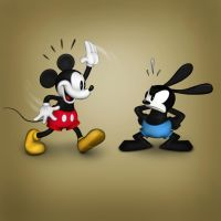 Mickey Waving to Oswald by Hamilton74
