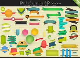 Psd Banners - Ribbons #34 by LilithDemoness