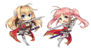 [Commission] Akari and Elicia Chibis by mogucho
