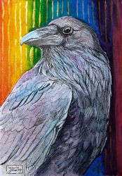 World Watercolor Month - Day 31 (Rainbow Raven) by Harmony1965