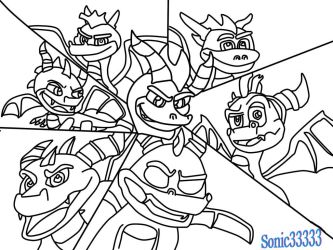 Spyro the dragon Evolution (lineart) by Sonic33333