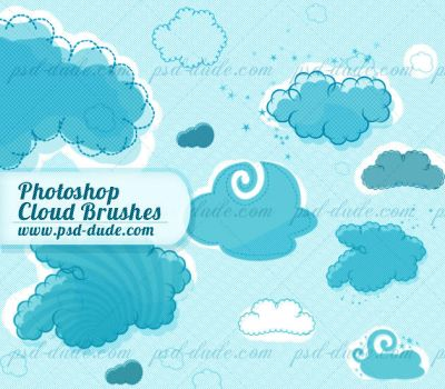 Cartoon Cloud Photoshop Brushes by PsdDude