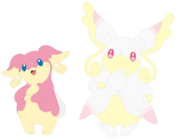 Audino and Mega Audino Base by SelenaEde