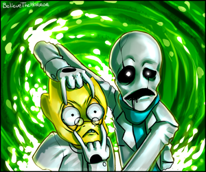 Gaster and Alphys by BelieveTheHorror