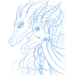 Dragon Lady pale by Harpyqueen