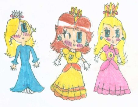 3 Chibi Princesses by PrincessDaisyRocks10