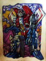 Battle torn Starscream colored by IggySeymour