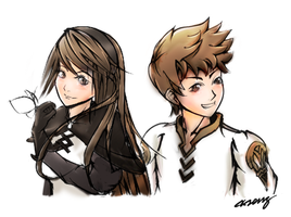 Agnes and Tiz Colored by zephyr-flutist