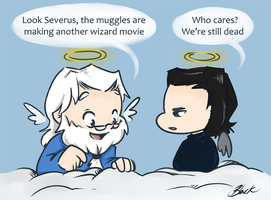Snape and Dumbledore -  Sing the angels by caycowa