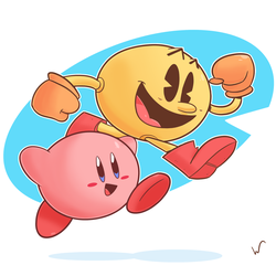 Kirby and Pac-Man by TheBlackDude