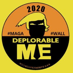 Deplorable Me, Trump 2020 button by Conservatoons