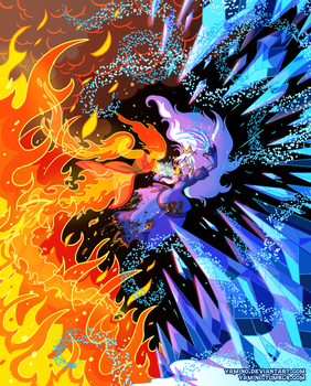 Flame Princess VS Ice Queen by Yamino