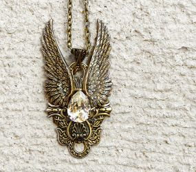 Dark Angel Pendant in Gold and Crystal by Aranwen