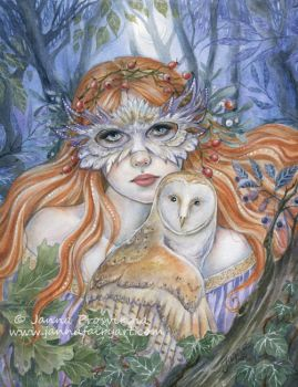 Owl Lady by JannaFairyArt