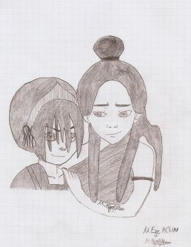 Charcoal Toph and Katara    Avatar by MEAltair