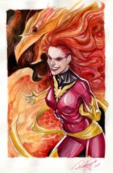 Dark Phoenix Watercolored by Arzeno