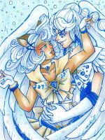 Leopard and Swan Blue Embrace by nickyflamingo