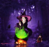 The little Witch and her doll by cherie-stenson