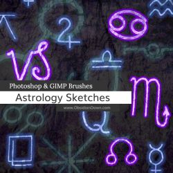 Astrology Sketches Photoshop and GIMP Brushes by redheadstock