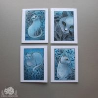 Night Garden / White Cat Cards by JillHoffman