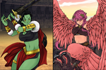 FWO- Warrior Vs Harpy Woman by coleroboman