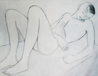 nude sketch on canvas by JuliuszLewandowski