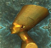 Copper Nefertiti bust by marijeberting