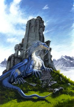 Old wise dragon - tempera illustration by AndreaSchepisi