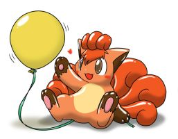 Vulpix and balloon 2 by Wingfox