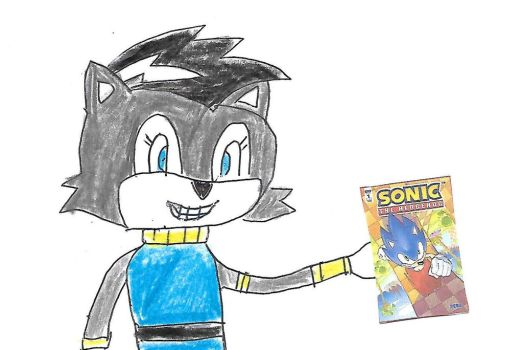 Lupe holds a copy of IDW Sonic issue #1 by dth1971