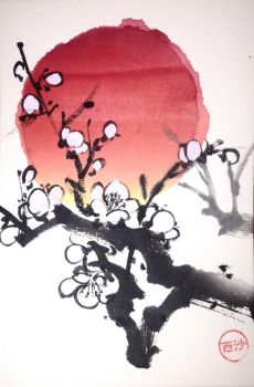 Sumie plum and sun (etegami) by bsshka