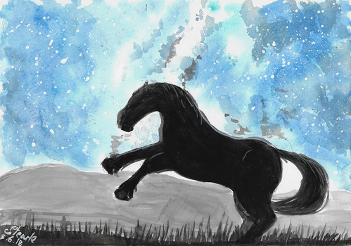 Watercolor horse silhouette by SulaimanDoodle