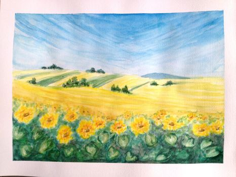 Sunflowers Watercolors by RivkaS