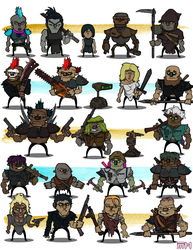 Post Apocalyptic Game Characters by yellowbouncyball