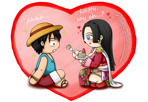 Luffy, say ah...? | Luffy x Hancock by Wings-chan