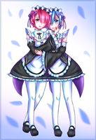 Rem and Ram by ivrinne