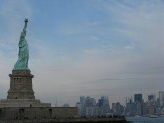 statue of liberty and downtown by reeceb