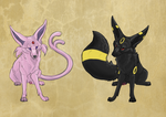 Umbreon and Espeon by QueenCoyote91