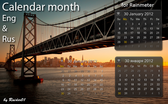 Calendar month Eng and Rus by RaiderO1