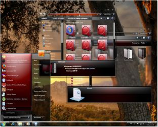 Windows 7 glass red theme  for  32 and  64 bit by fares123