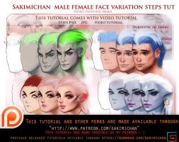 Female Male face variation video tutorial pack by sakimichan