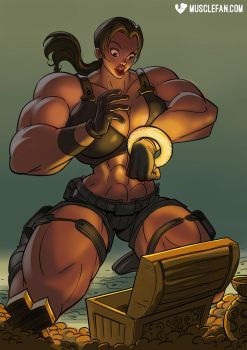 Female Muscle Growth Goddess Lara Croft by muscle-fan-comics
