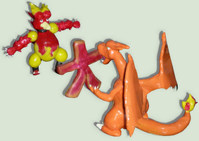 Magmar VS Charizard Hand made Figures :D