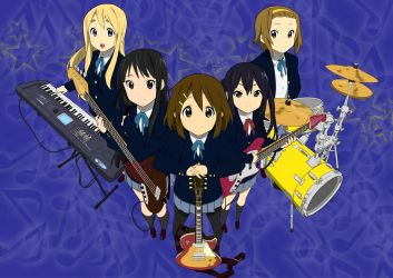 Ho-kago Tea Time Band: K-on! Vector by animereviewguy