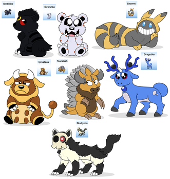 Pokemon fusions by Rustywolf14