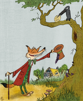 Le Renard et le corbeau (The Fox and the Crow) by jarvworld
